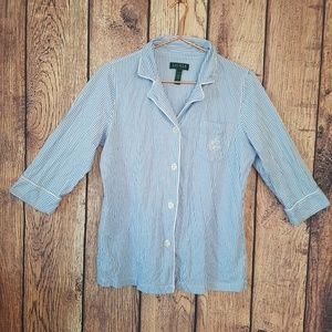 Lauren Ralph Lauren bed shirt Blue white size L